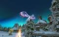 Снежный дракон над домами