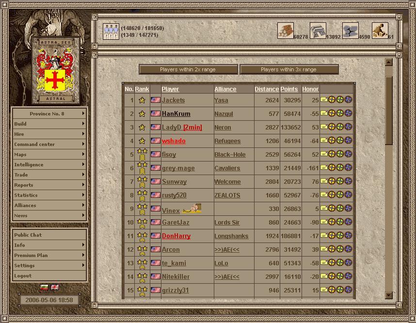 Imperia Online Список конкурентов