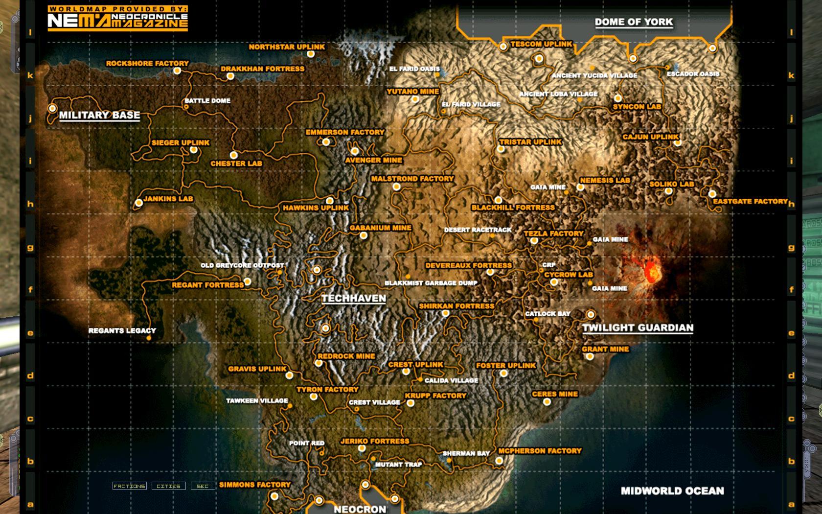 Neocron Большая карта мира