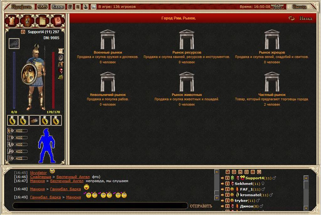 Rome War Варианты рынков