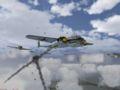 Дым от подбитого самолета