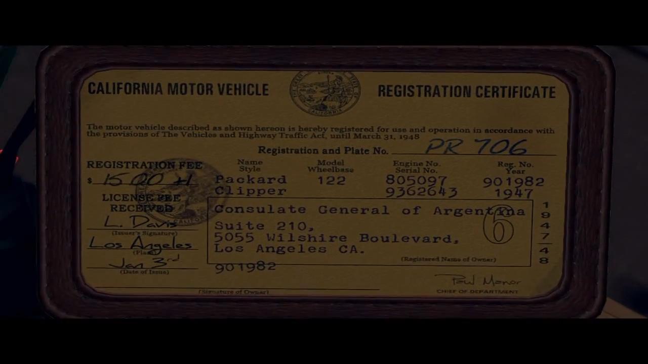 L.A. Noire Регистрационный талон