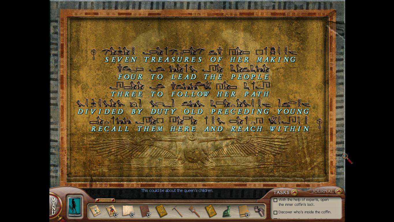Нэнси Дрю: Усыпальница пропавшей королевы Послание на втором саркофаге