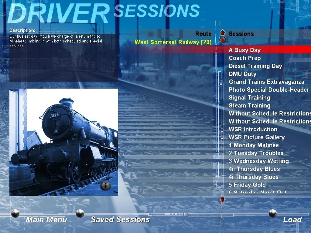 Train Driver Выбор сценария в Train Driver